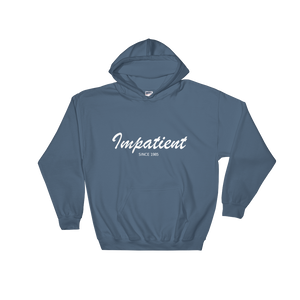 Impatient Unisex Hooded Sweatshirt, Collection Nicknames-Indigo Blue-S-Tamed Winds-tshirt-shop-and-sailing-blog-www-tamedwinds-com