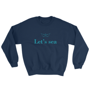 Let's Sea Unisex Crewneck Sweatshirt, Collection Origami Boat-Navy-S-Tamed Winds-tshirt-shop-and-sailing-blog-www-tamedwinds-com