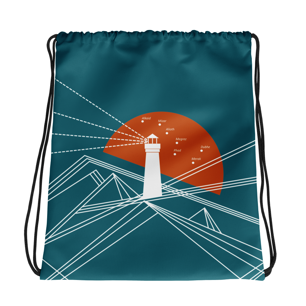 Lighthouse Drawstring Bag, Collection Fjaka-Tamed Winds-tshirt-shop-and-sailing-blog-www-tamedwinds-com