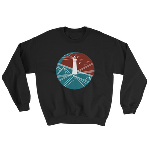 Lighthouse Unisex Crewneck Sweatshirt, Collection Fjaka-Black-S-Tamed Winds-tshirt-shop-and-sailing-blog-www-tamedwinds-com