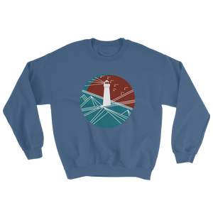 Lighthouse Unisex Crewneck Sweatshirt, Collection Fjaka-Indigo Blue-S-Tamed Winds-tshirt-shop-and-sailing-blog-www-tamedwinds-com