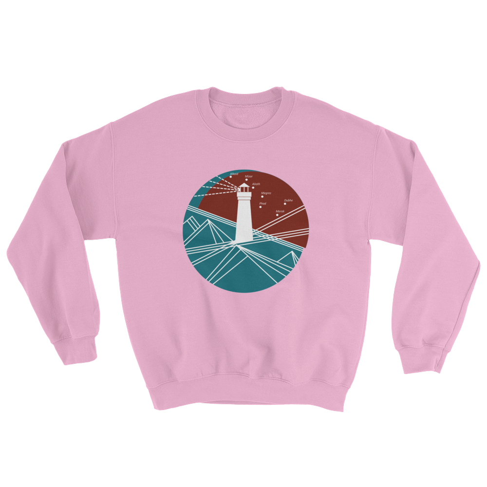 Lighthouse Unisex Crewneck Sweatshirt, Collection Fjaka-Light Pink-S-Tamed Winds-tshirt-shop-and-sailing-blog-www-tamedwinds-com