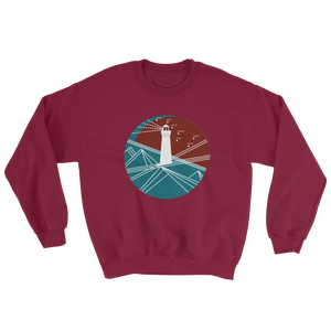 Lighthouse Unisex Crewneck Sweatshirt, Collection Fjaka-Maroon-S-Tamed Winds-tshirt-shop-and-sailing-blog-www-tamedwinds-com