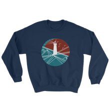 Lighthouse Unisex Crewneck Sweatshirt, Collection Fjaka-Navy-S-Tamed Winds-tshirt-shop-and-sailing-blog-www-tamedwinds-com