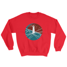 Lighthouse Unisex Crewneck Sweatshirt, Collection Fjaka-Red-S-Tamed Winds-tshirt-shop-and-sailing-blog-www-tamedwinds-com
