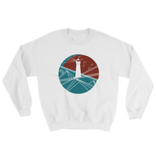 Lighthouse Unisex Crewneck Sweatshirt, Collection Fjaka-White-S-Tamed Winds-tshirt-shop-and-sailing-blog-www-tamedwinds-com