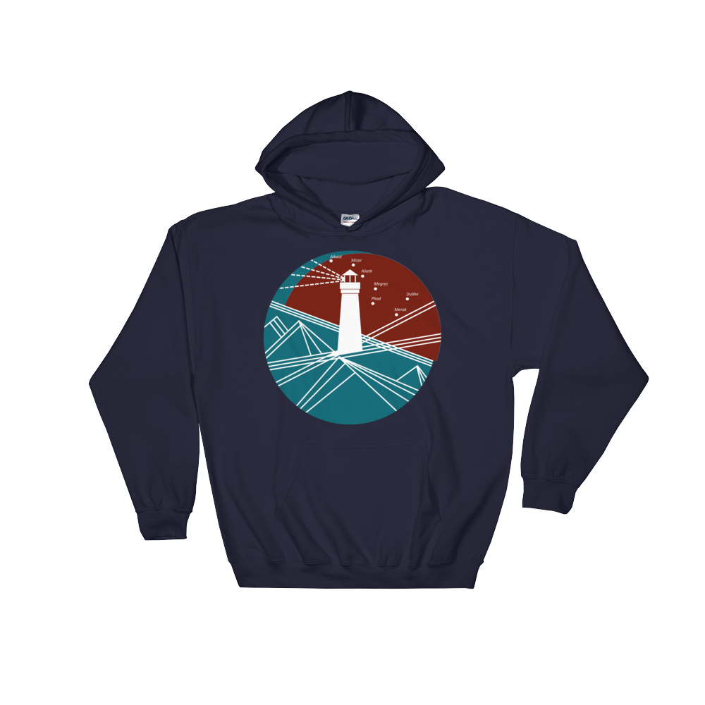 Lighthouse Unisex Hooded Sweatshirt, Collection Fjaka-Navy-S-Tamed Winds-tshirt-shop-and-sailing-blog-www-tamedwinds-com