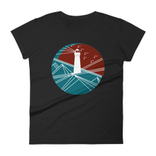 Lighthouse Women's Round Neck T-Shirt, Collection Fjaka-Black-S-Tamed Winds-tshirt-shop-and-sailing-blog-www-tamedwinds-com