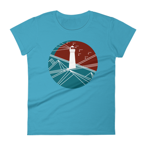 Lighthouse Women's Round Neck T-Shirt, Collection Fjaka-Caribbean Blue-S-Tamed Winds-tshirt-shop-and-sailing-blog-www-tamedwinds-com