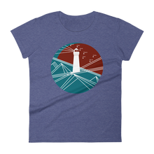 Lighthouse Women's Round Neck T-Shirt, Collection Fjaka-Heather Blue-S-Tamed Winds-tshirt-shop-and-sailing-blog-www-tamedwinds-com