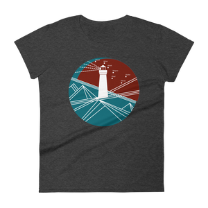 Lighthouse Women's Round Neck T-Shirt, Collection Fjaka-Heather Dark Grey-S-Tamed Winds-tshirt-shop-and-sailing-blog-www-tamedwinds-com