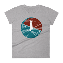 Lighthouse Women's Round Neck T-Shirt, Collection Fjaka-Heather Grey-S-Tamed Winds-tshirt-shop-and-sailing-blog-www-tamedwinds-com