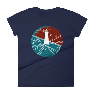 Lighthouse Women's Round Neck T-Shirt, Collection Fjaka-Navy-S-Tamed Winds-tshirt-shop-and-sailing-blog-www-tamedwinds-com