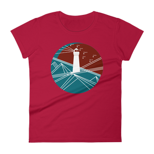 Lighthouse Women's Round Neck T-Shirt, Collection Fjaka-Red-S-Tamed Winds-tshirt-shop-and-sailing-blog-www-tamedwinds-com