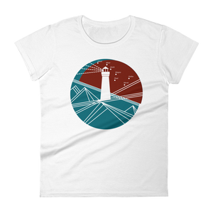 Lighthouse Women's Round Neck T-Shirt, Collection Fjaka-White-S-Tamed Winds-tshirt-shop-and-sailing-blog-www-tamedwinds-com
