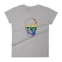 Love Skull Women's Round Neck T-Shirt, Collection Jolly Roger-Heather Grey-S-Tamed Winds-tshirt-shop-and-sailing-blog-www-tamedwinds-com