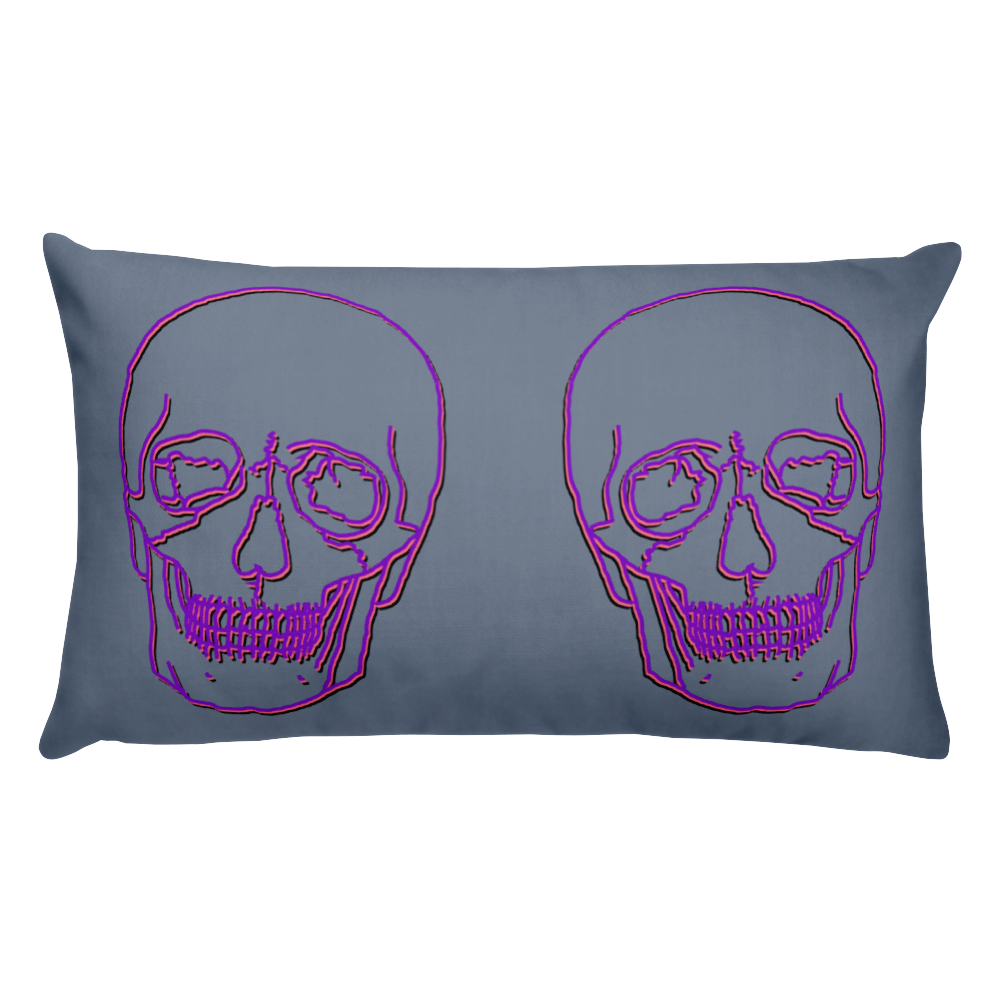 Neon Skull Decorative Pillow, Collection Jolly Roger-Tamed Winds-tshirt-shop-and-sailing-blog-www-tamedwinds-com