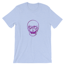 Neon Skull Unisex T-Shirt, Collection Jolly Roger-Heather Blue-S-Tamed Winds-tshirt-shop-and-sailing-blog-www-tamedwinds-com