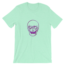 Neon Skull Unisex T-Shirt, Collection Jolly Roger-Heather Mint-S-Tamed Winds-tshirt-shop-and-sailing-blog-www-tamedwinds-com