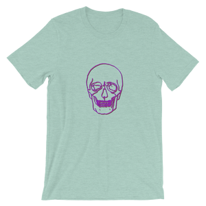 Neon Skull Unisex T-Shirt, Collection Jolly Roger-Heather Prism Dusty Blue-S-Tamed Winds-tshirt-shop-and-sailing-blog-www-tamedwinds-com