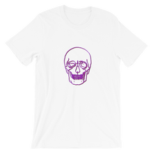 Neon Skull Unisex T-Shirt, Collection Jolly Roger-White-S-Tamed Winds-tshirt-shop-and-sailing-blog-www-tamedwinds-com