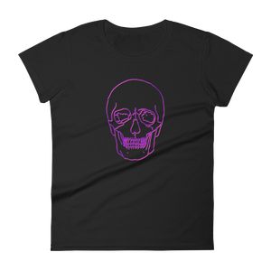 Neon Skull Women's Round Neck T-Shirt, Collection Jolly Roger-Black-S-Tamed Winds-tshirt-shop-and-sailing-blog-www-tamedwinds-com