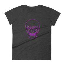 Neon Skull Women's Round Neck T-Shirt, Collection Jolly Roger-Heather Dark Grey-S-Tamed Winds-tshirt-shop-and-sailing-blog-www-tamedwinds-com