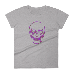 Neon Skull Women's Round Neck T-Shirt, Collection Jolly Roger-Heather Grey-S-Tamed Winds-tshirt-shop-and-sailing-blog-www-tamedwinds-com
