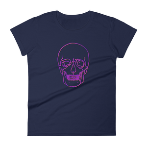 Neon Skull Women's Round Neck T-Shirt, Collection Jolly Roger-Navy-S-Tamed Winds-tshirt-shop-and-sailing-blog-www-tamedwinds-com