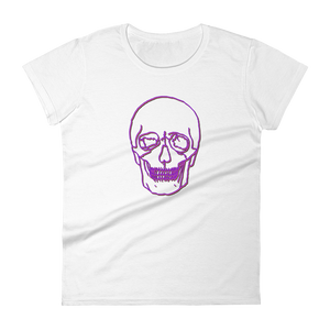 Neon Skull Women's Round Neck T-Shirt, Collection Jolly Roger-White-S-Tamed Winds-tshirt-shop-and-sailing-blog-www-tamedwinds-com