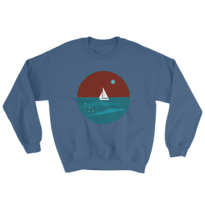 Northern Star Unisex Crewneck Sweatshirt, Collection Fjaka-Indigo Blue-S-Tamed Winds-tshirt-shop-and-sailing-blog-www-tamedwinds-com