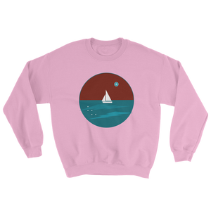 Northern Star Unisex Crewneck Sweatshirt, Collection Fjaka-Light Pink-S-Tamed Winds-tshirt-shop-and-sailing-blog-www-tamedwinds-com