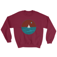 Northern Star Unisex Crewneck Sweatshirt, Collection Fjaka-Maroon-S-Tamed Winds-tshirt-shop-and-sailing-blog-www-tamedwinds-com