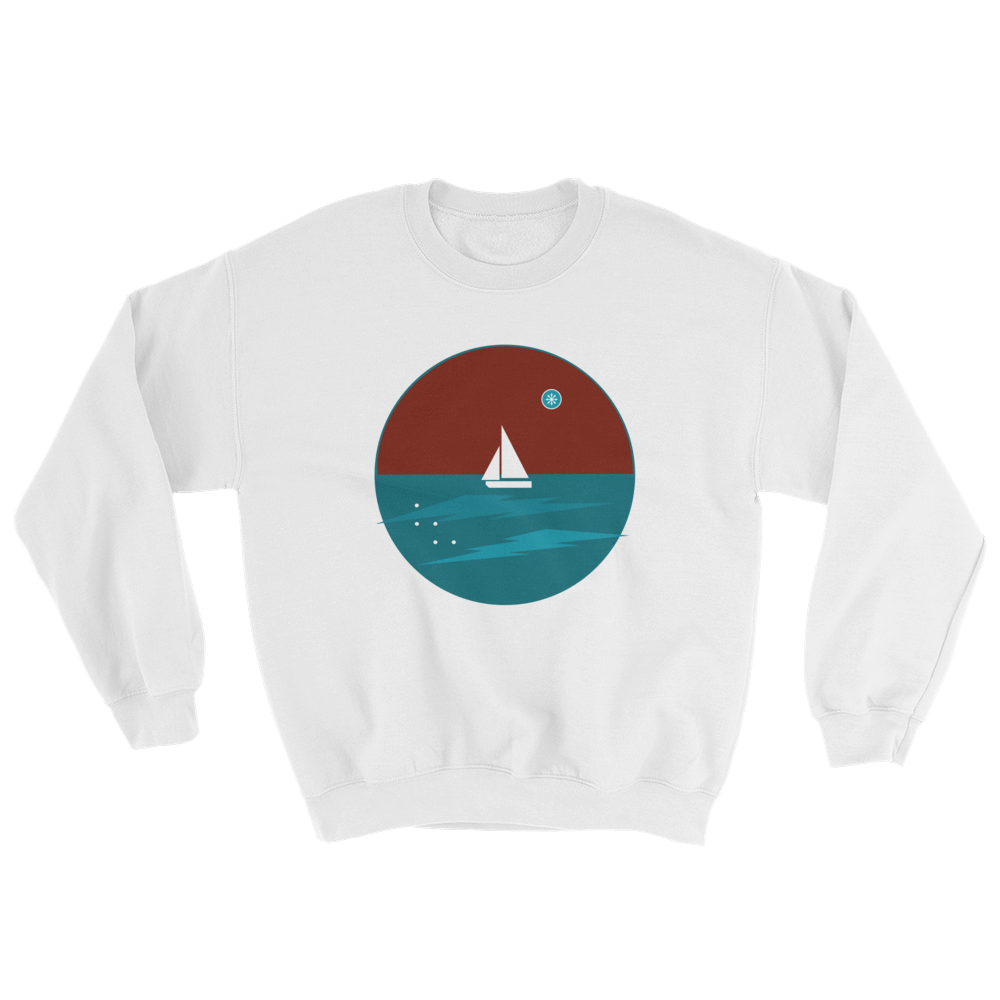 Northern Star Unisex Crewneck Sweatshirt, Collection Fjaka-White-S-Tamed Winds-tshirt-shop-and-sailing-blog-www-tamedwinds-com