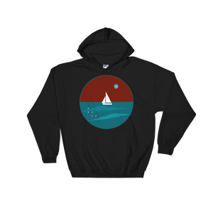 Northern Star Unisex Hooded Sweatshirt, Collection Fjaka-Black-S-Tamed Winds-tshirt-shop-and-sailing-blog-www-tamedwinds-com