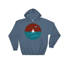 Northern Star Unisex Hooded Sweatshirt, Collection Fjaka-Indigo Blue-S-Tamed Winds-tshirt-shop-and-sailing-blog-www-tamedwinds-com