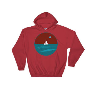 Northern Star Unisex Hooded Sweatshirt, Collection Fjaka-Red-S-Tamed Winds-tshirt-shop-and-sailing-blog-www-tamedwinds-com
