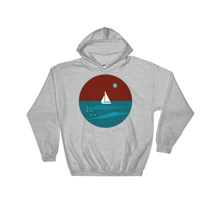 Northern Star Unisex Hooded Sweatshirt, Collection Fjaka-Sport Grey-S-Tamed Winds-tshirt-shop-and-sailing-blog-www-tamedwinds-com