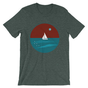 Northern Star Unisex T-Shirt, Collection Fjaka-Heather Forest-S-Tamed Winds-tshirt-shop-and-sailing-blog-www-tamedwinds-com
