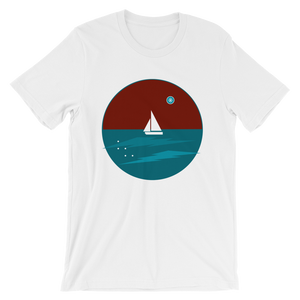 Northern Star Unisex T-Shirt, Collection Fjaka-White-S-Tamed Winds-tshirt-shop-and-sailing-blog-www-tamedwinds-com