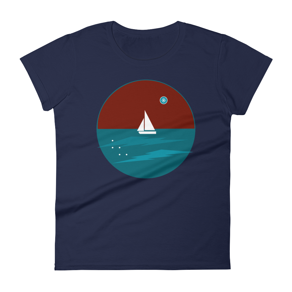 Northern Star Women's Round Neck T-Shirt, Collection Fjaka-Navy-S-Tamed Winds-tshirt-shop-and-sailing-blog-www-tamedwinds-com