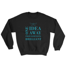 One Idea Away Unisex Crewneck Sweatshirt, Collection Origami Boat-Black-S-Tamed Winds-tshirt-shop-and-sailing-blog-www-tamedwinds-com