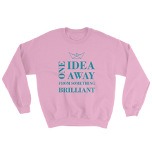 One Idea Away Unisex Crewneck Sweatshirt, Collection Origami Boat-Light Pink-S-Tamed Winds-tshirt-shop-and-sailing-blog-www-tamedwinds-com