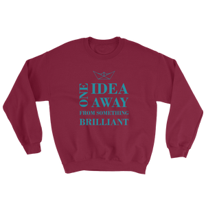 One Idea Away Unisex Crewneck Sweatshirt, Collection Origami Boat-Maroon-S-Tamed Winds-tshirt-shop-and-sailing-blog-www-tamedwinds-com
