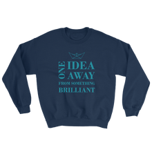 One Idea Away Unisex Crewneck Sweatshirt, Collection Origami Boat-Navy-S-Tamed Winds-tshirt-shop-and-sailing-blog-www-tamedwinds-com