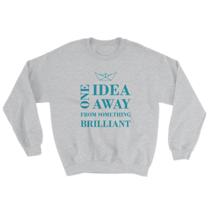 One Idea Away Unisex Crewneck Sweatshirt, Collection Origami Boat-Sport Grey-S-Tamed Winds-tshirt-shop-and-sailing-blog-www-tamedwinds-com