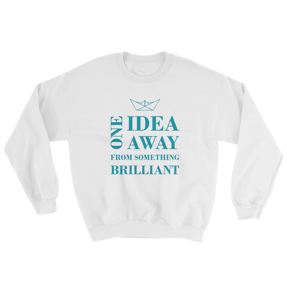 One Idea Away Unisex Crewneck Sweatshirt, Collection Origami Boat-White-S-Tamed Winds-tshirt-shop-and-sailing-blog-www-tamedwinds-com