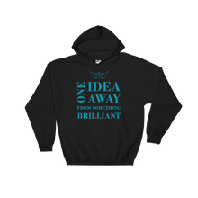 One Idea Away Unisex Hooded Sweatshirt, Collection Origami Boat-Black-S-Tamed Winds-tshirt-shop-and-sailing-blog-www-tamedwinds-com