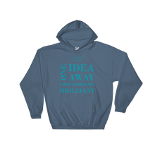 One Idea Away Unisex Hooded Sweatshirt, Collection Origami Boat-Indigo Blue-S-Tamed Winds-tshirt-shop-and-sailing-blog-www-tamedwinds-com