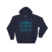 One Idea Away Unisex Hooded Sweatshirt, Collection Origami Boat-Navy-S-Tamed Winds-tshirt-shop-and-sailing-blog-www-tamedwinds-com